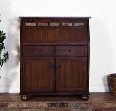 Dark Oak Wood Furniture Sunny Designs 2939do Drop Leaf Laptop Desk In Dark Oak And Rustic