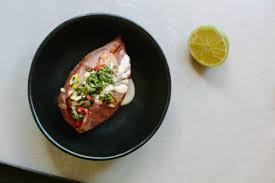 cuisine bernollin chipotle bean lime stuffed potatoes with herb salsa