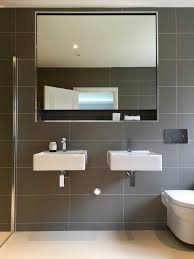 Large Bathroom Vanities by Large Format Grey Tile Bathroom Contemporary With Rainshower Head