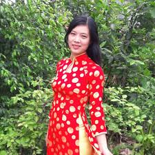 ao dai vietnam red yellow polka dot