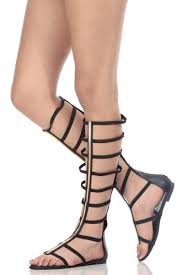 black faux leather caged elastic strap gladiator sandals cicihot