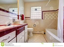Bathroom Window Trim Bathroom With Tile Wall Trim And Glass Block Window Stock Photo