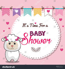 invitation baby shower card pink sheep stock vector 485995324