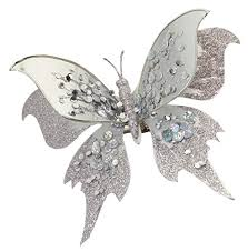 club pack of 12 silver jeweled butterfly decorative clip on