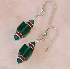 christmas earrings green and swarovski christmas earrings handmade