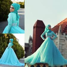 muslim crystals bridal wedding dresses long sleeves hijab high