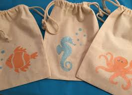 muslin favor bags the sea favor bags muslin bags with sea octopus