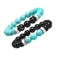 turquoise stone bracelet images Fashion natural black stone bracelets chakra healing balance beads jpg