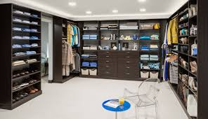u shape dark brown wooden closet with many shelves for clothes and