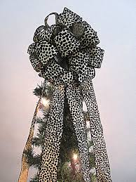 christmas tree topper leopard print christmas tree bow