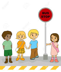 party bus clipart illustration of kids at the bus stop royalty free cliparts