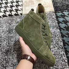 new mens womens high top green suede red bottom casual shoes
