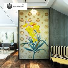 Yellow Fireplace Mosaic Mural Yellow Hibiscus Flower Fireplace Livingroom Wall Deco