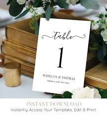 table number card printable wedding table card template table