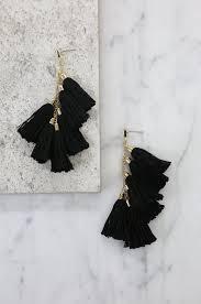 black earrings daydreamer tassel earrings in black and gold ettika