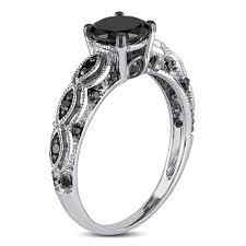 white and black diamond engagement rings miadora 10k white gold 1 1 4ct tdw black diamond engagement