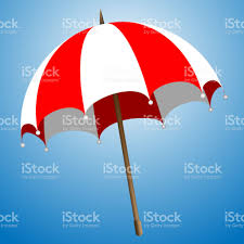 illustration of a beach red and white umbrella on a transparent