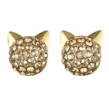 cat stud earrings karl lagerfeld gold pave choupette cat stud earring created with