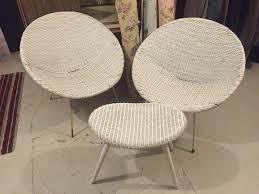 Tub Chairs Original 1960s Pair Of White Plastic Wicker Tub Chairs Metal