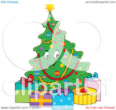 cartoon of a happy christmas tree with gifts royalty free vector