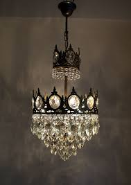 1950s Chandelier Antique French Basket Style Brass U0026 Crystals Chandelier From