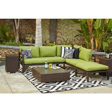 Sunbrella Indoor Sofa by Handy Living Aldrich Indoor Outdoor Dark Brown Woven Resin Rattan
