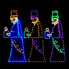 Lighted Outdoor Christmas Displays by Lighted Religious Sculptures