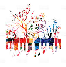 colorful piano keyboard with trees and music notes stock vector