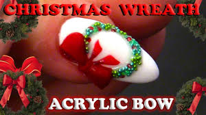 simple christmas nail design christmas wreath with bow tutorial