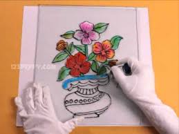 drawn rose glass vase pencil and in color drawn rose glass vase