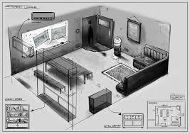 studio rum lounge room production sketch
