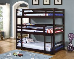 Cappuccino Solid Pine Wood Triple Twin Bunk Bed Kids The - Triple bunk bed wooden