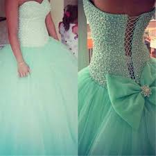 sweetheart beads mint tulle quinceanera dresses long ball gown