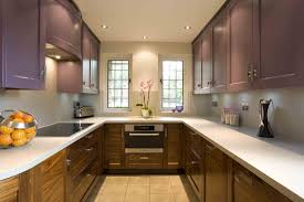 dark brown tile backsplash small kitchen interior design grey