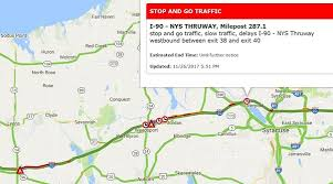 traffic crawls on nys thruway in onondaga cayuga counties as