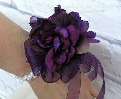 purple corsage wrist corsage plum purple flower bridesmaid corsage wedding