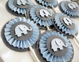 blue elephant baby shower decorations baby blue and gray baby elephant rosettes cupcake toppers