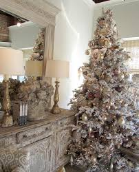 flocked trees add a touch of wintry glam to your living room