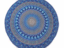 blue mandala cotton dining table linens round tablecloth overlay