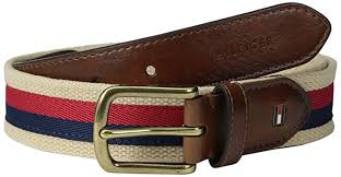 ribbon fabric hilfiger men s casual fabric belt with ribbon overlay and