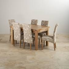 dorset dining set in natural oak table 6 patterned chairs