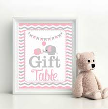 pink and grey elephant baby shower gift table sign elephant baby shower favor sign pink and grey