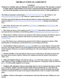 free michigan sublease agreement form u2013 pdf template
