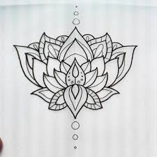 Simple Lotus Flower Drawing - black simple lotus flower tattoo drawing golfian com