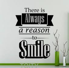 online get cheap wall decals quotes for office aliexpress com there is always a reason to smile motivation quote wall decal inspirational word office home family