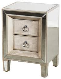 Bed Side Tables Cassidy Mirrored Nightstand Contemporary Nightstands And