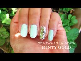 easy mint green nail polish tutorial youtube