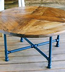 reclaimed wood round coffee table with pipe legs home furniture