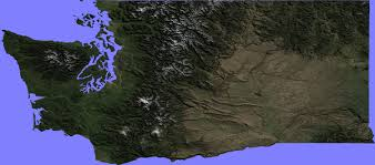 Washington State Relief Map by Terrain Maps Google Earth Library