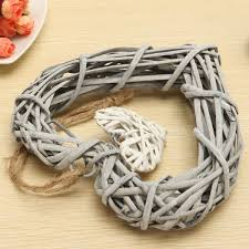 wicker hanging heart in grey white wreath color rattan sepak